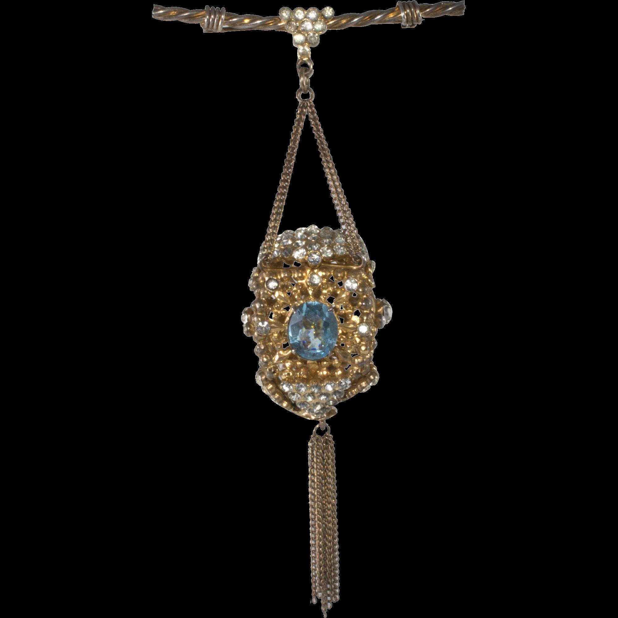 "Sonia Lee 5"" Lantern Brooch Pin Clear and Blue Rhinestones c. 1940"