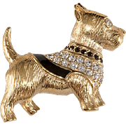 Swarovski Swan Logo Scotty Scottie Dog Brooch Pin