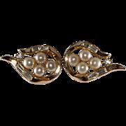 Trifari Rhinestone Faux Pearl Earrings