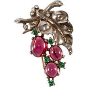 Trifari 1945 Sterling Silver Grapes Fur Pin Clip Brooch