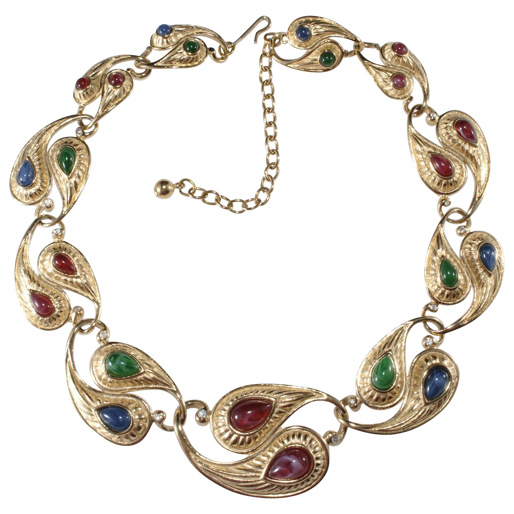 Trifari Paisley Jewel Tone Rhinestone Necklace