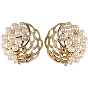Trifari Faux Pearl Rhinestone Earrings 1960s Vintage