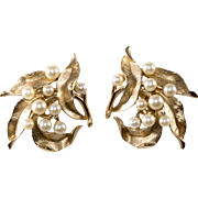 Trifari 1960s Brushed Gold Tone Faux Pearl Earrings