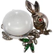 Trifari Bunny Rabbit Jelly Belly Sterling Silver Rhinestone Brooch Pin 1940s