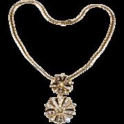 Trifari 1940s Snowflake Necklace Brooch Pin Clear Rhinestones