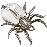 Trifari Sterling Silver Spider Jelly Belly Fur Clip Pin Brooch 1940s Vintage