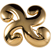 Trifari Gold Plated Swirl Brooch Pin 1970s