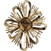Trifari Goldtone & Rhinestone Brooch Pin