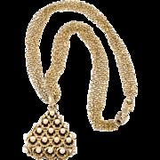 Trifari 1960s Faux Pearl Triangle Pendant Necklace
