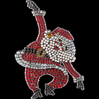 Von Walhof 4-Inch Rockin' Santa Brooch Christmas Pin