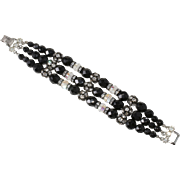 Vendome Black Beads & Clear Rhinestone Bracelet