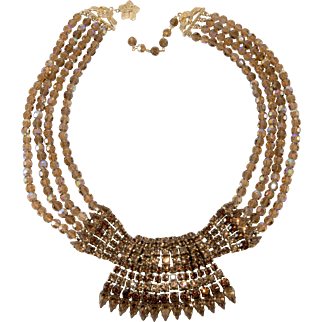Vendome Necklace Prototype Brown Rhinestones and Beads Vintage