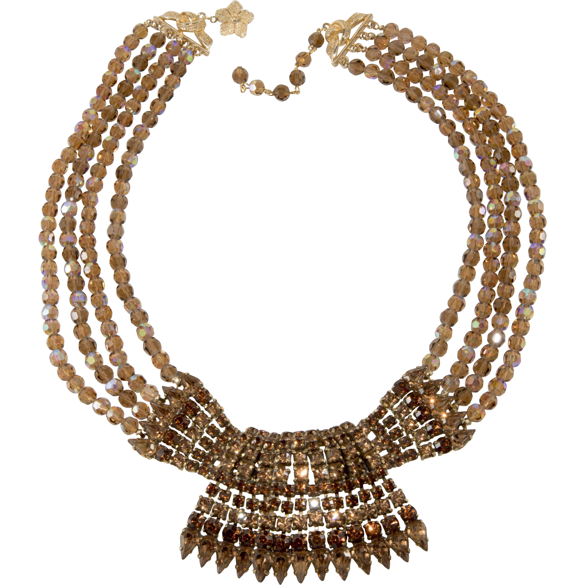 Vendome Necklace Prototype Brown Rhinestones and Beads Vintage
