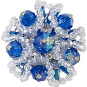 Unmarked Vendome Cluster Brooch Blue and Clear Crystal Beads