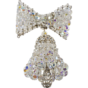 Vendome Prototype Crystal Bell Brooch Pin Christmas or Wedding