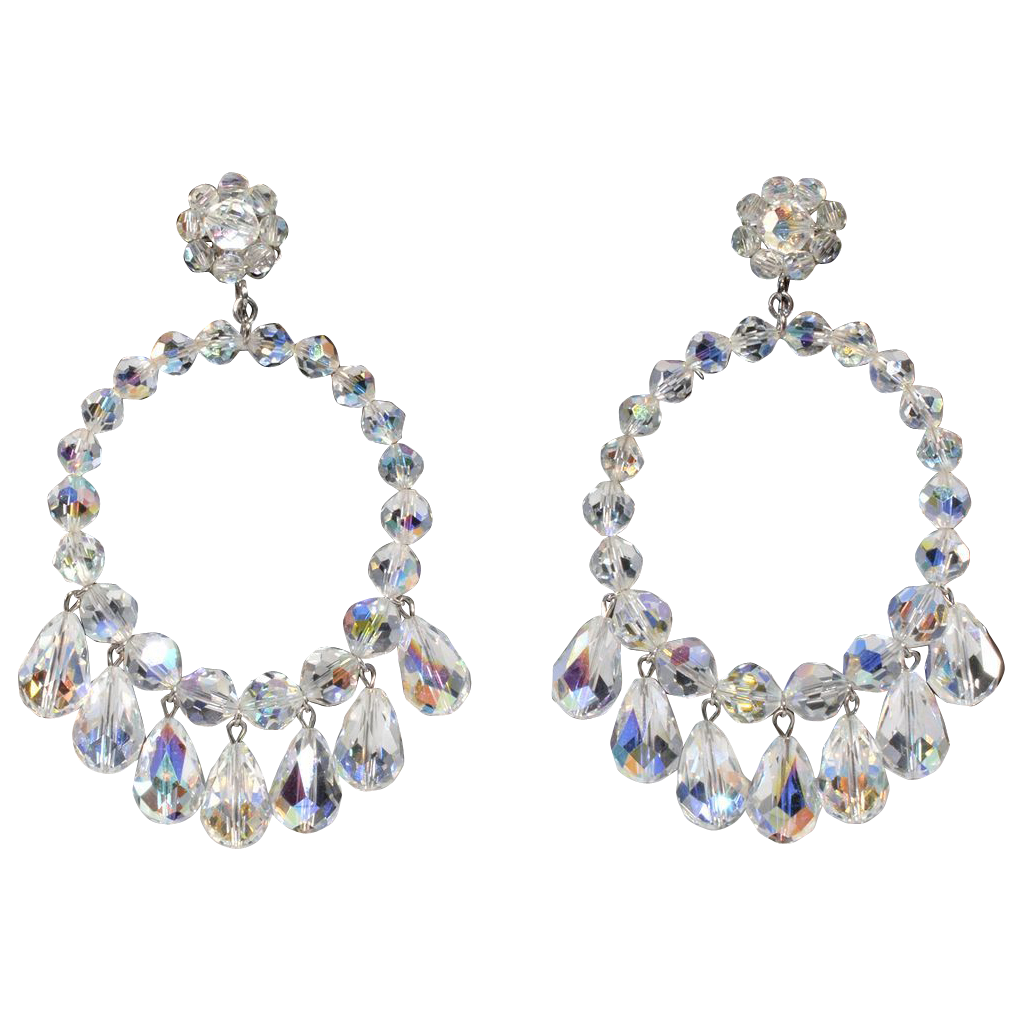 "Vendome 3 1/2"" Crystal Dangle Hoop Earrings"
