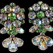 Vendome Dangle Earrings Green and Iridescent Rhinestones