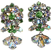 Vendome Dangle Earrings Green and Iridescent Rhinestones