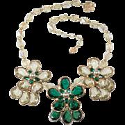 Vendome Prototype Green Yellow Rhinestone Bead Flower Necklace