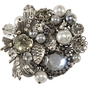 Vendome Smoke Gray Cluster Brooch Pin Unmarked Prototype