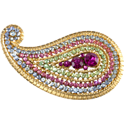 Vendome Multicolored Rhinestone Paisley Brooch Pin Vintage
