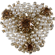 Vendome Prototype Pearl and Rhinestone Cluster Brooch Pin