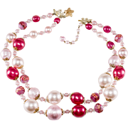 Vendome Two-Strand Pink Bead Necklace Vintage