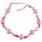 Vendome Pink Bead and Rhinestone Prototype Necklace