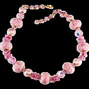 Vendome Pink Bead and Rhinestone Prototype Necklace