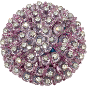 Unmarked Vendome Purple Bead Rhinestones Brooch Pin Vintage