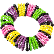 Vendome Slinky Stretch Bracelet Multi-Color Beads 1960s Vintage