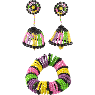 Vendome Colorful Lampshade Earrings and Slinky Bracelet