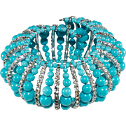 Vendome Prototype Turquoise Bead and Rhinestone Bracelet