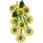 Vendome Prototype Yellow Dangling Flowers Brooch