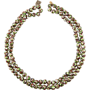 Venetian Glass Foiled Bead Two Strand Necklace with Aventurine Swirls