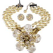 Lawrence Vrba HUGE Faux Pearl Flower Convertible Necklace Brooch Earrings Set