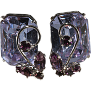 Vogue Alexandrite Color Change Rhinestones Earrings Vintage