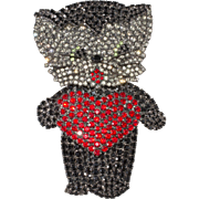 Von Walhof 4-Inch Rhinestone Cat with Heart Kitty Brooch Pin