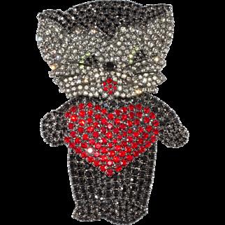 Von Walhof 4-Inch Rhinestone Cat with Heart Kitty Brooch Pin