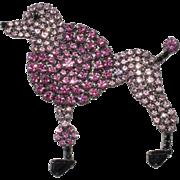 Von Walhof Rhinestone Pink Poodle Brooch Pin