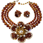 Lawrence Vrba HUGE Rhinestone Flower Necklace Earrings Set