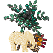 "Lawrence Vrba HUGE 5"" Rhinestone Palm Tree Elephant Brooch Pin"