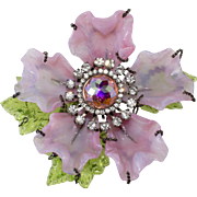 Lawrence Vrba HUGE Pink Glass Flower Rhinestones Brooch Pin