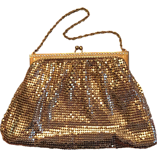 Whiting Davis Gold Mesh with Rhinestones Evening Bag Purse 1930s