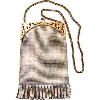 Whiting Davis Fringed White and Gold Painted Mesh Evening Bag Purse