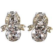 Weiss Ribbon Clear Rhinestone Earrings