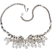 Weiss Clear Rhinestone Bead Dangles Necklace 1950s Vintage