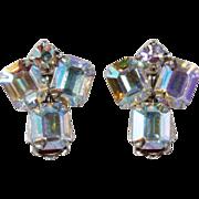 Weiss 1950s Aurora Borealis Rhinestone Earrings