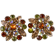 Weiss 1950s Iridescent Brown Green Rhinestones Earrings