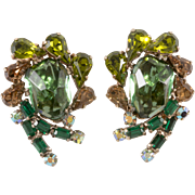 Weiss 1960s India Inspired Green Earrings